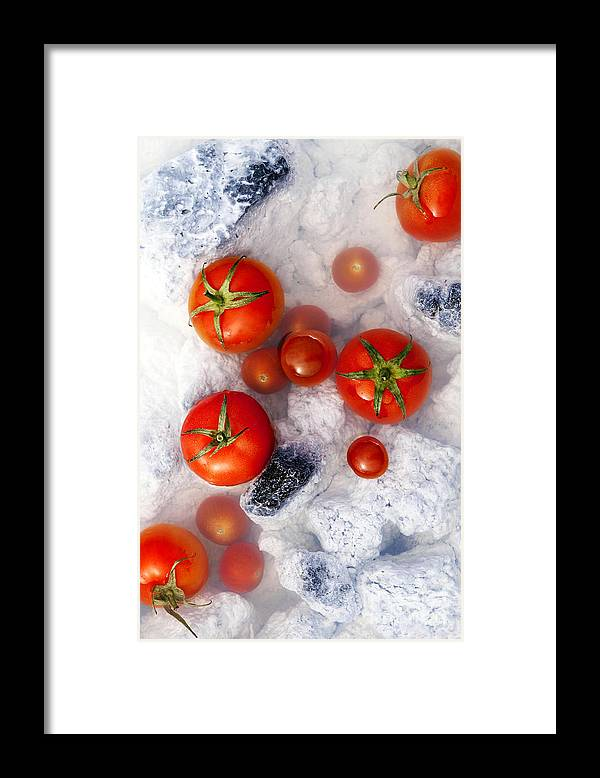 Tomatoes Framed Print featuring the photograph Red In White by Agusta Gudrun Olafsdottir