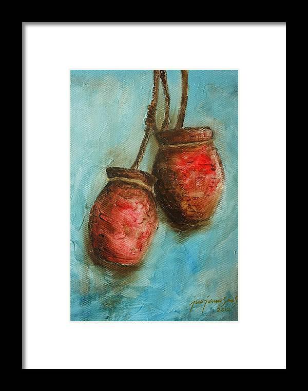 Jar Framed Print featuring the painting Red Jars by Jun Jamosmos