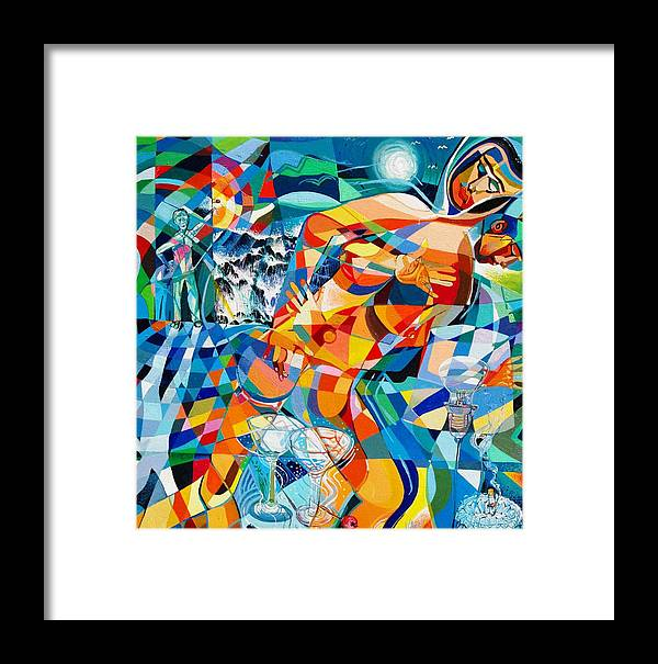 Abstract Framed Print featuring the painting 'red-light District Love Affairs' by Mario Villareal