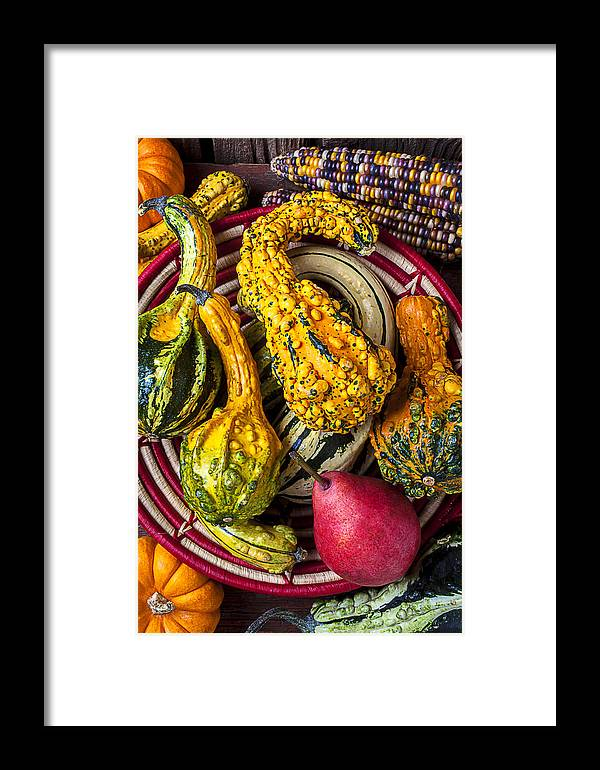 Red Pear Framed Print featuring the photograph Red Pear And Gourds by Garry Gay