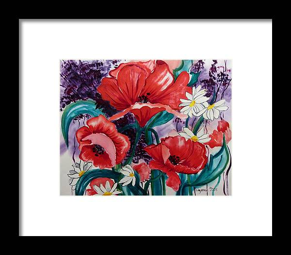 Poppies Framed Print featuring the painting Red Poppies by Suzanne Willis