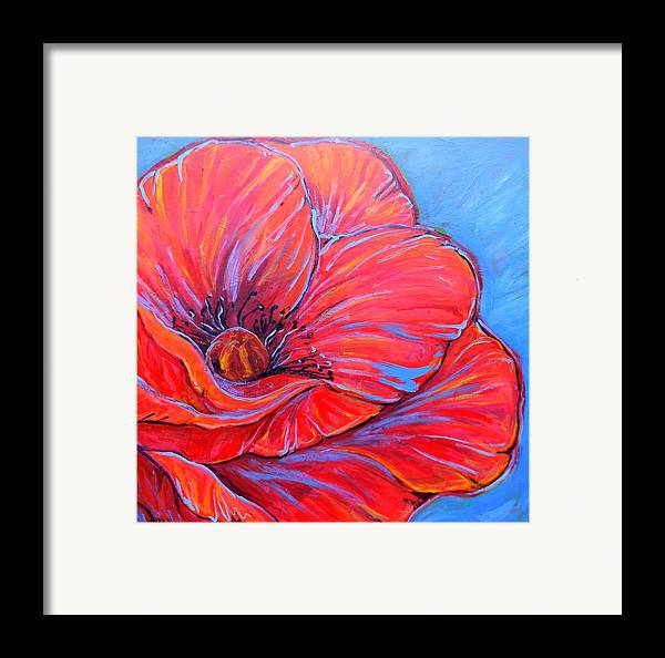 Red Framed Print featuring the painting Red Poppy by Jenn Cunningham