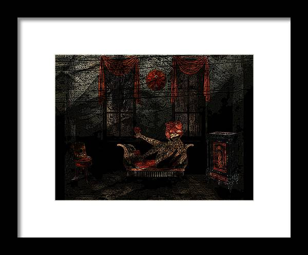 Vintage Girl Framed Print featuring the digital art Red Room by Kristie Bonnewell