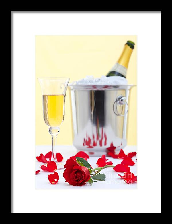 Red Framed Print featuring the photograph Red Rose And Champagne by Richard Thomas