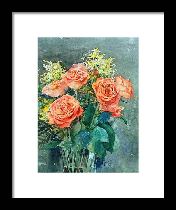 Peter Sit Watercolor Framed Print featuring the painting Red Roses by Peter Sit