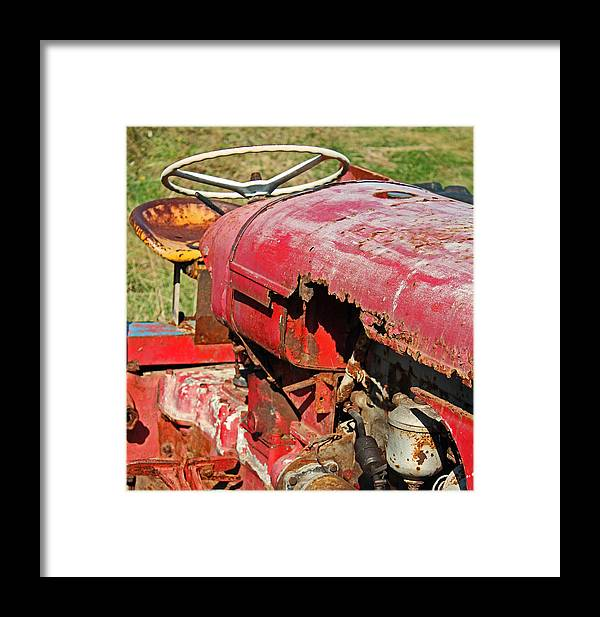 Beach Framed Print featuring the photograph Red Rusty Beach Tractor by Camera Rustica Bill Kerr