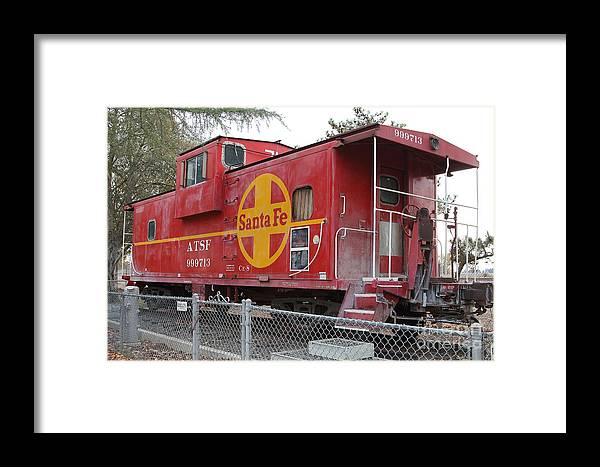 Transportation Framed Print featuring the photograph Red Sante Fe Caboose Train . 7d10325 by Wingsdomain Art and Photography