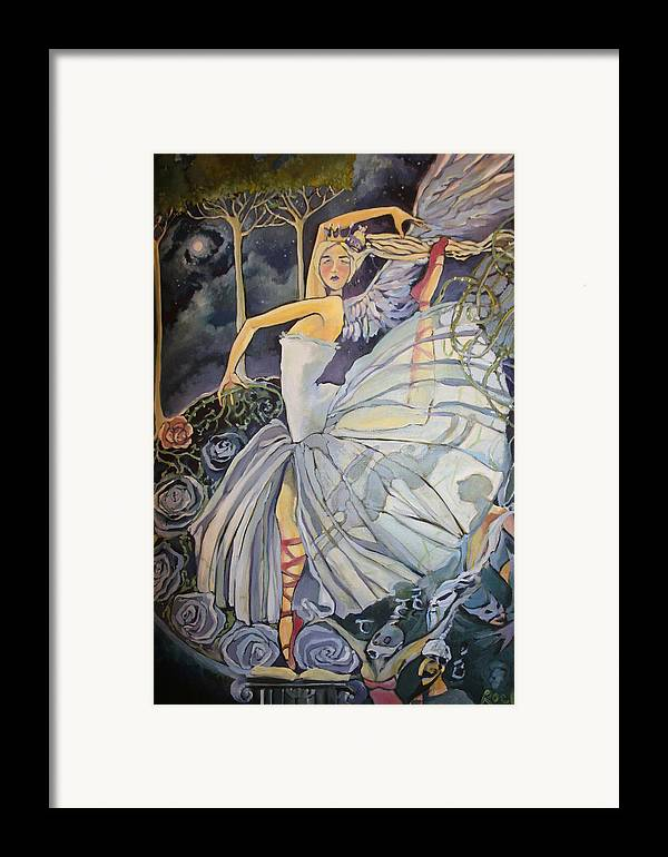 Dance Ballet Roses Framed Print featuring the drawing Red Shoes by Jackie Rock