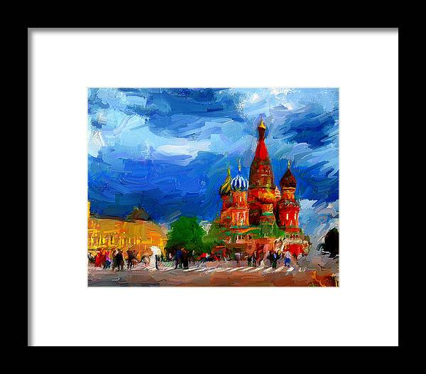 Red Framed Print featuring the digital art Red Square Moscow by Yury Malkov