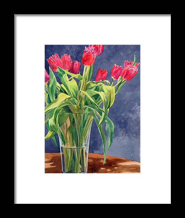 Peter Sit Watercolor Framed Print featuring the painting Red Tulips by Peter Sit