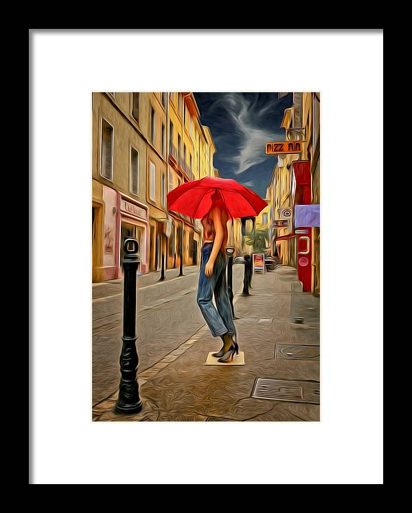 Umbrella Framed Print featuring the photograph Red Umbrella by Jim Painter