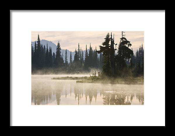 Mp Framed Print featuring the photograph Reflection Lake With Mist, Mount by Konrad Wothe