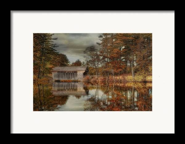 Covered Bridge Framed Print featuring the photograph Reflections Of Autumn by Robin-Lee Vieira