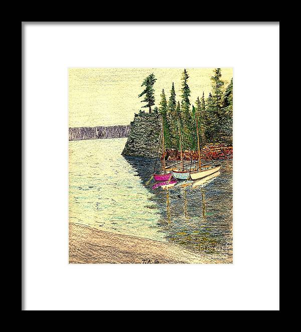 Lakeshore Framed Print featuring the painting Reflections Of Transquility by Jessi and James Gault