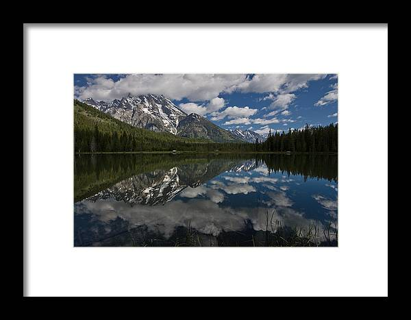 Grand Tetons Framed Print featuring the photograph Reflections On Mount Moran by Greg Nyquist