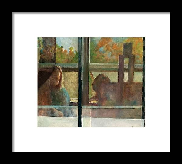 Artist Reflected In Studio Window. Framed Print featuring the painting Reflections by Tom Smith