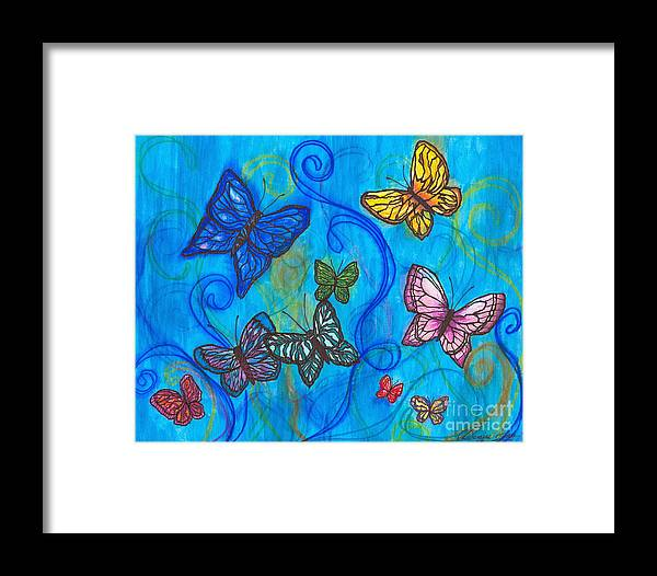 Butterflies Framed Print featuring the painting Releasing Butterflies II by Denise Hoag