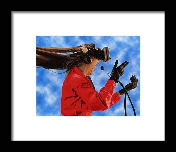 View Framed Print featuring the photograph Researcher Wearing Virtual Reality Headset by Nasa