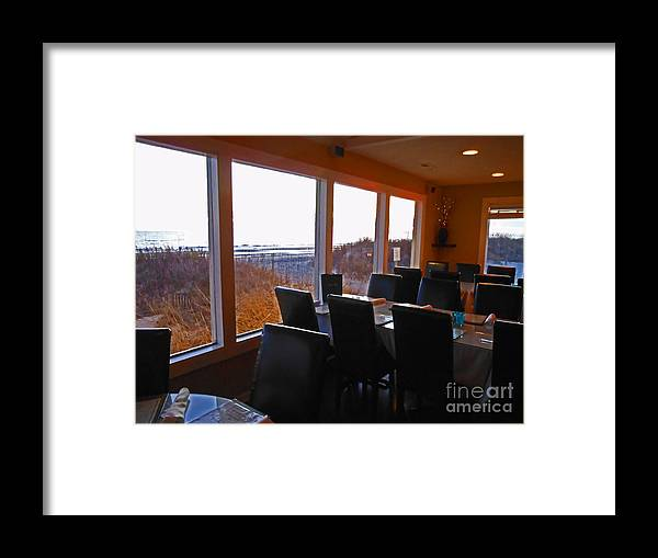 Oak Island Beach Framed Print featuring the photograph Restaurant Waiting for the Sunset by Beebe Barksdale-Bruner