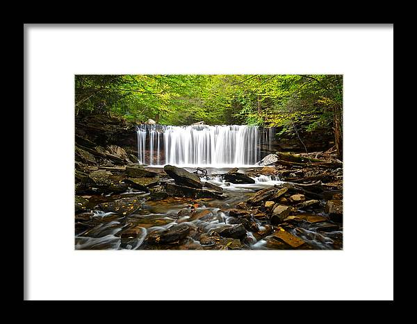 Ricketts Framed Print featuring the photograph Ricketts Glen Waterfall Oneida by Frozen in Time Fine Art Photography