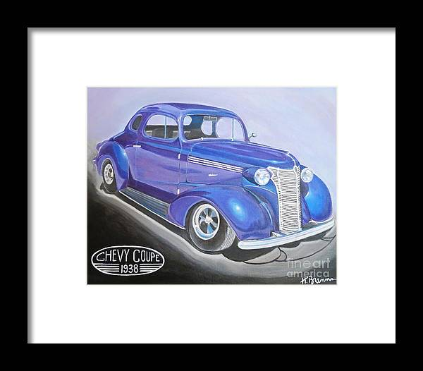 Classic Car Framed Print featuring the painting Rick's Wife by Holly Bartlett Brannan