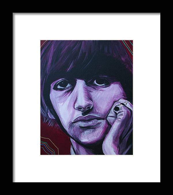 Beatles Framed Print featuring the painting Ringo Star by Kate Fortin