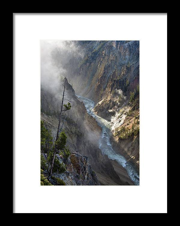 Rockies Framed Print featuring the photograph Rising Mists From Grand Canyon Of The Yellowstone by Greg Nyquist