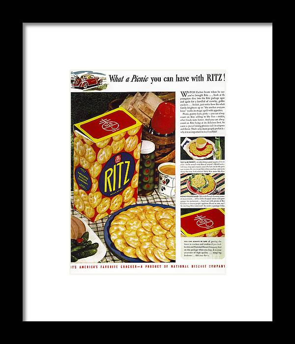 1940 Framed Print featuring the photograph Ritz Crackers Ad, 1940 by Granger