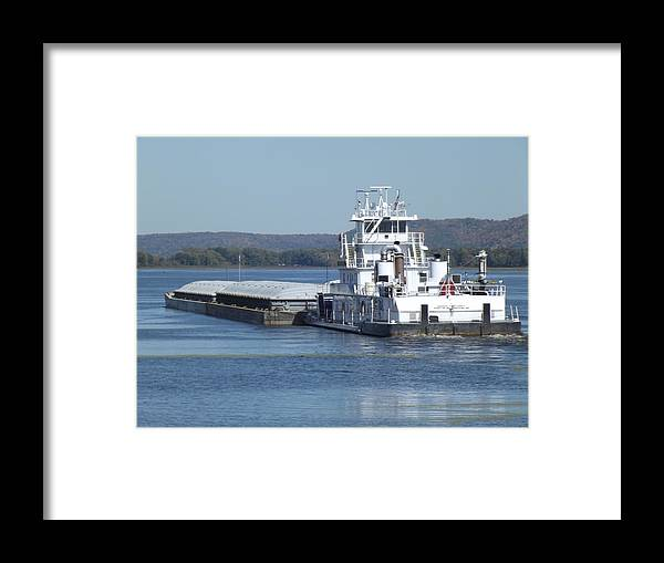 Mississippi River Framed Print featuring the photograph River Barge by Bonfire Photography