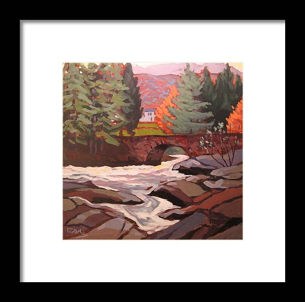 Turbulent River Framed Print featuring the painting River Dochart Killin by Edward Abela