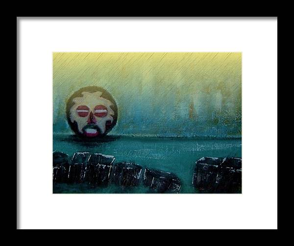 African Mask Framed Print featuring the mixed media River God9 by Joseph Ferguson