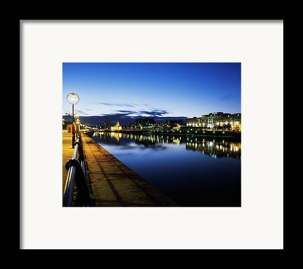 Architectural Detail Framed Print featuring the photograph River Liffey, Sunset, View Of Customs by The Irish Image Collection