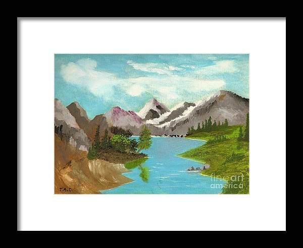 Mountains Framed Print featuring the painting River Through Magnificance by Jessi and James Gault