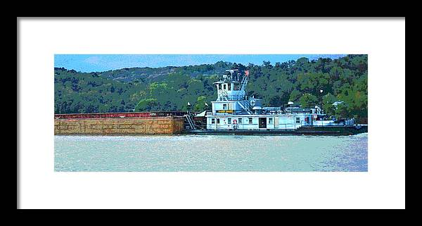 Barge Framed Print featuring the photograph River Transportation by Jennifer Kelly
