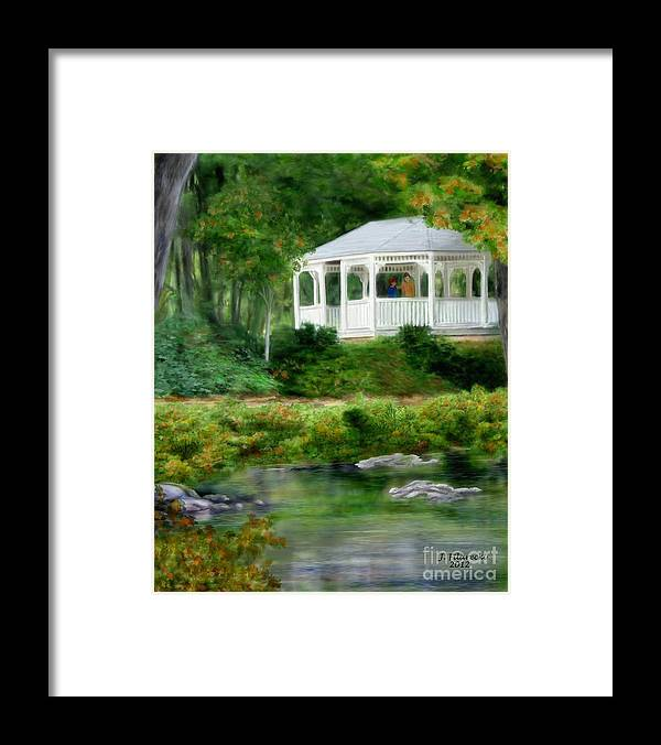 Riverside Framed Print featuring the painting Riverside Gazebo by Judy Filarecki