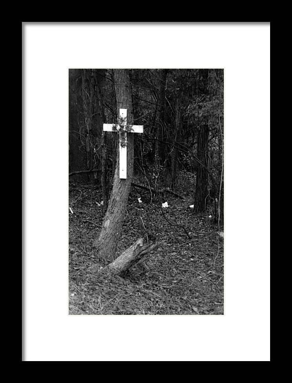 Louisiana Framed Print featuring the photograph Road Death Cross- La Hwy 15- Louisiana by Doug Duffey