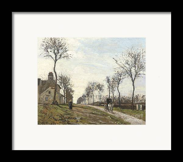 Camille Framed Print featuring the painting Road In Louveciennes by Camille Pissarro