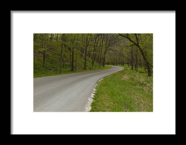 Road Framed Print featuring the photograph Road Thru Woods Spring 1 by John Brueske