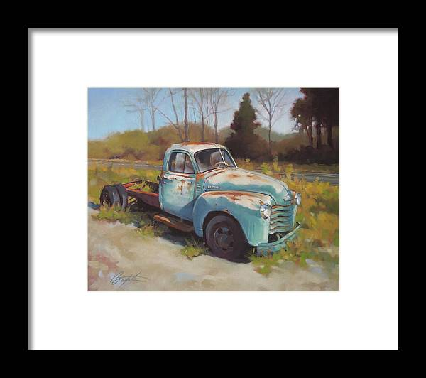 Chevy Framed Print featuring the painting Roadside Relic by Todd Baxter