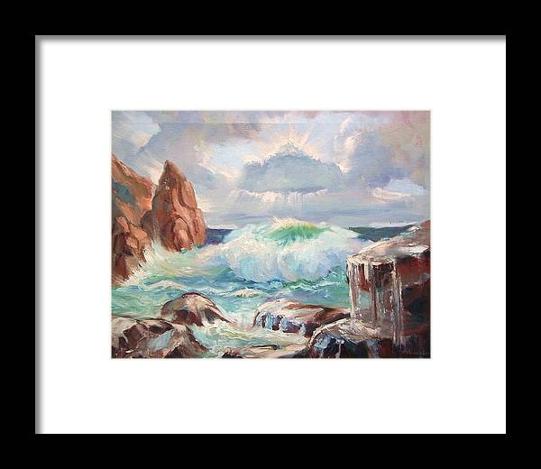 Ocean Framed Print featuring the painting Roaring Waves by Aileen Markowski