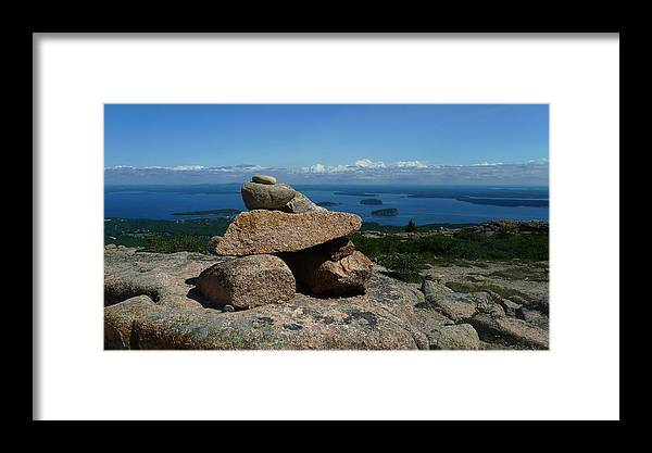 Rocks Framed Print featuring the photograph Rock Cairn On Cadillac Mountain by Quin Bond