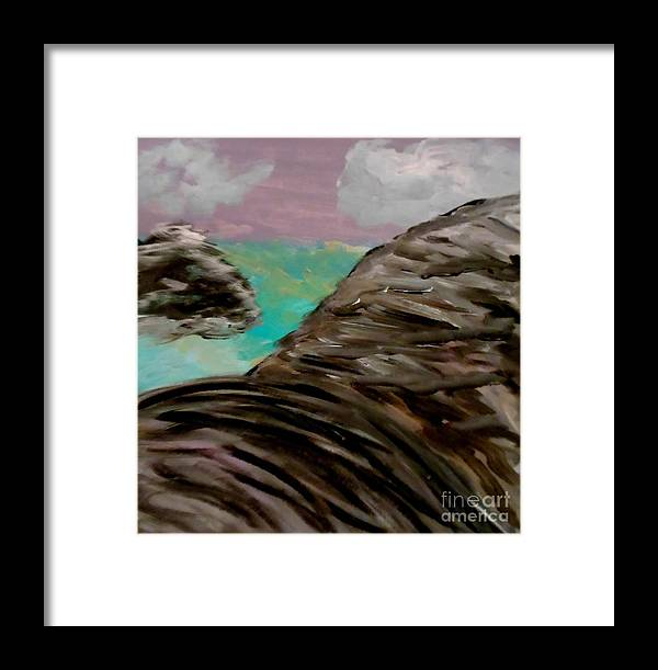 Sky Framed Print featuring the painting Rocks And Water by Marie Bulger