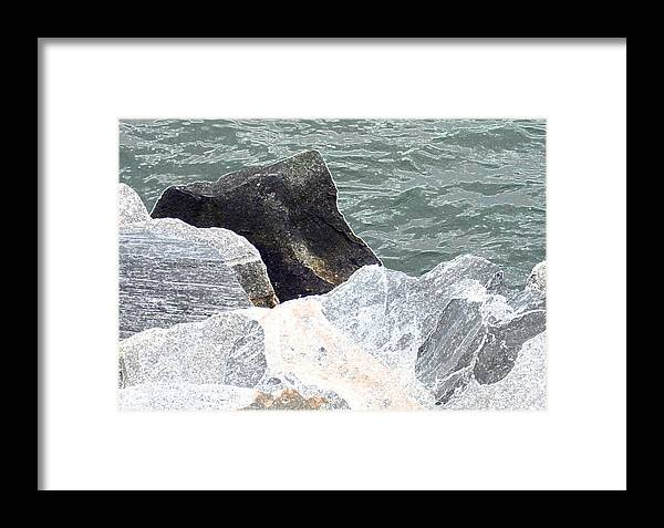 Chessapeake Rocks Framed Print featuring the digital art Rocks Chessapeake Bay Digital by Dianna Lawson