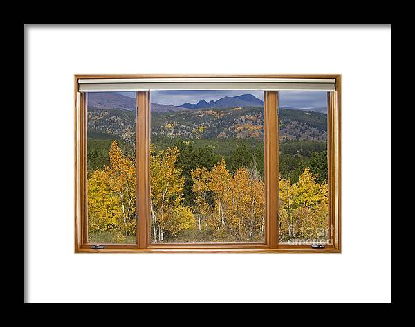Windows Framed Print featuring the photograph Rocky Mountain Autumn Picture Window Scenic View by James BO Insogna