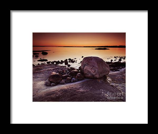 Nature Framed Print featuring the photograph Rocky Shore At Twilight by Oleksiy Maksymenko