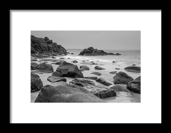 Black & White Framed Print featuring the photograph Rocky Shore by Marx Broszio