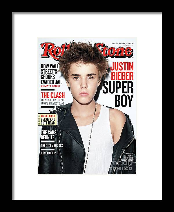 Justin Bieber Framed Print featuring the photograph Rolling Stone Cover - Volume #1125 - 3/3/2011 - Justin Bieber by Terry Richardson