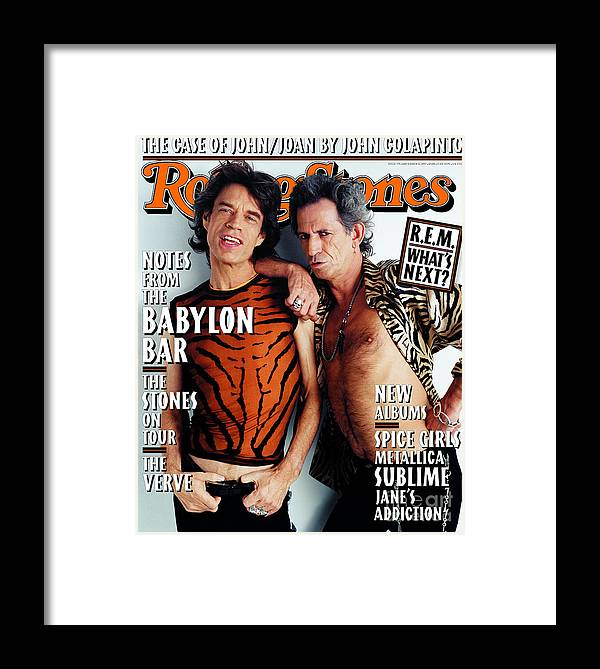 Mick Jagger And Keith Richards Framed Print featuring the photograph Rolling Stone Cover - Volume #775 - 12/11/1997 - Mick Jagger And Keith Richards by Mark Seliger