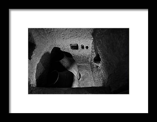 Interesting Framed Print featuring the photograph Roman Era Bathroom Carved Into Cave by Kantilal Patel
