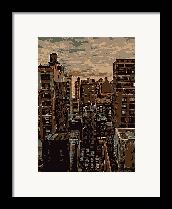 New York City Rooftop Framed Print featuring the photograph Rooftop Color 6 by Scott Kelley